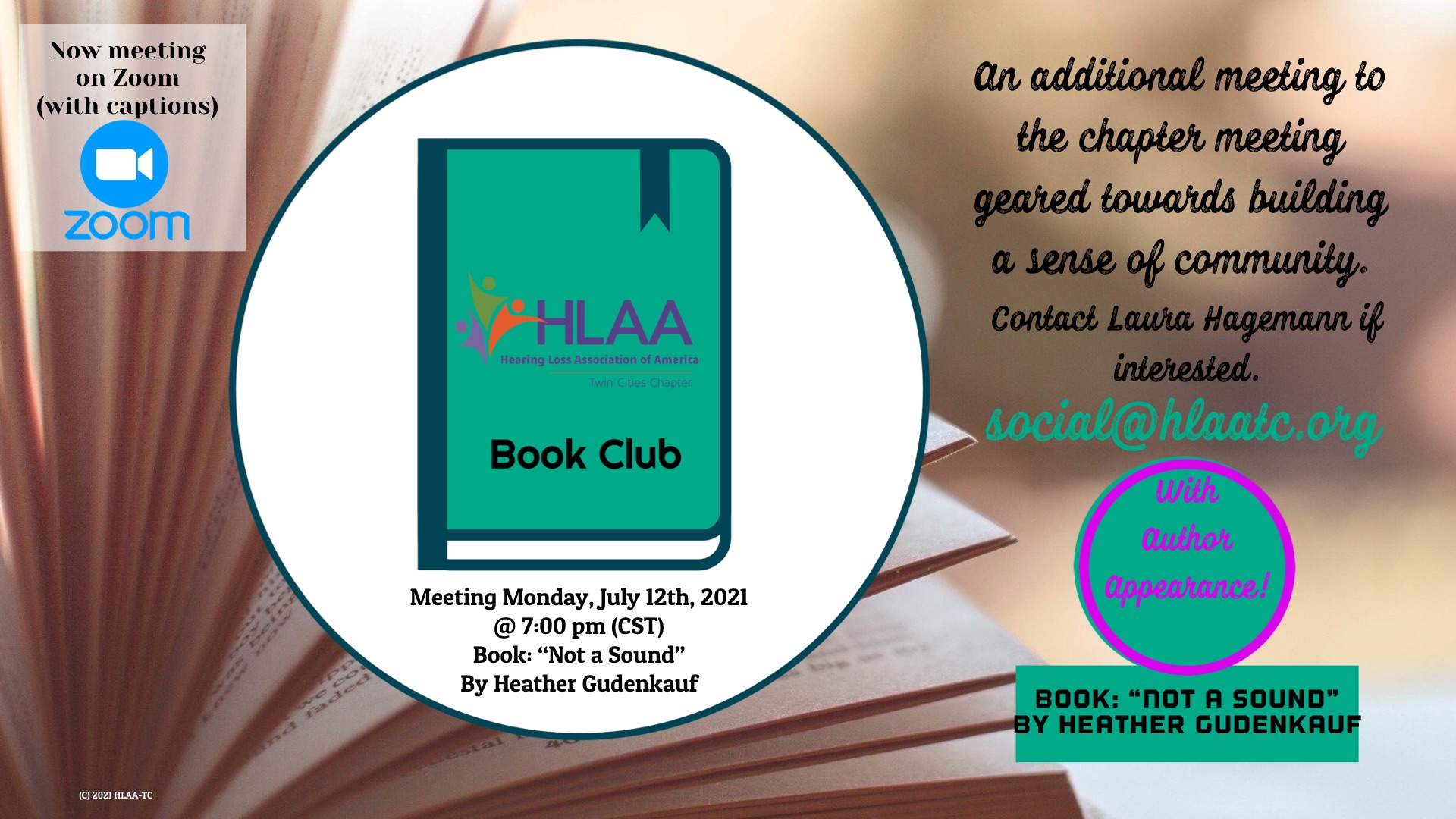 HLAA-TC Book Club is Monday, July 12th at 7:00 p.m. (CST)